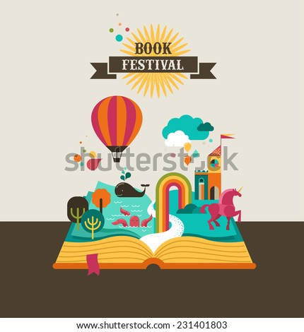 Imagination concept open book air balloon stock vector for Fairy tale book cover template