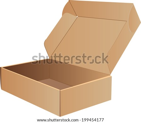 Open Cardboard Box- Vector