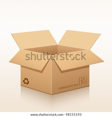 Open corrugated box recycle. vector illustration