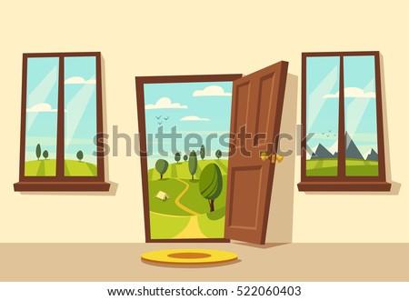 Open door. Valley landscape. Cartoon vector illustration. Vintage poster. Welcome to real  sc 1 st  Shutterstock & Open Door Valley Landscape Cartoon Vector Stock Vector 522060403 ... pezcame.com