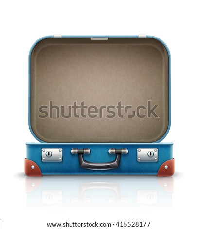 Open old retro vintage suitcase for travel. Vector illustration, Isolated on white background. Open case for luggage. Empty bag, box for travel and vacations trip.