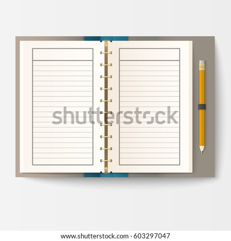 Set Open Realistic Notebooks Pages Diary Vector 610078328 – Diary Paper Template