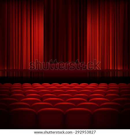 Open theater red curtains with light and seats. EPS 10 vector file included