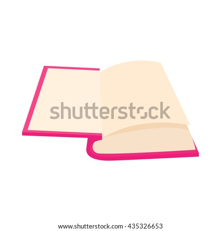 Opened book icon in cartoon style
