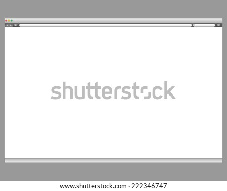 Opened template. Grey website display bar isolated. Navigation button forward, back, home, search, menu. Business concept commerce site. Background interface. Past content Vector abstract illustration