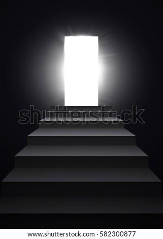 Light In Dark Room opening black door dark room shining stock vector 222983110