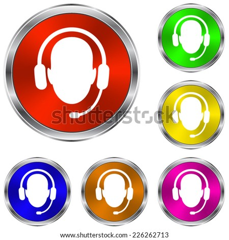 Operator in headset  icon - vector glossy colourful buttons