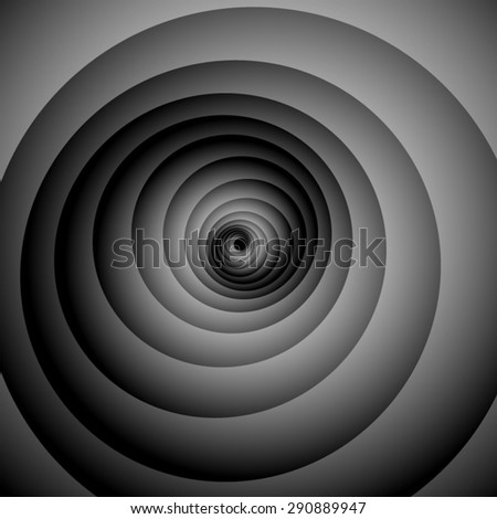 Optical illusion. Gently screwed volume black and white spiral.