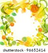 Orange and lime juice splash with abstract wave, beautiful vector illustration - stock photo