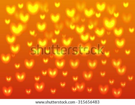 orange background with yellow glowing hearts