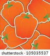 Orange capsicum sticker card in vector format. - stock photo