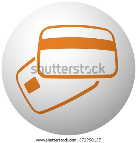 Orange Credit Card Payment icon on sphere isolated on white background