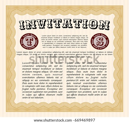 Orange Formal Invitation Template Background Sophisticated Stock