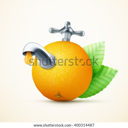 Orange fruit with water tap concept eps10 vector illustration