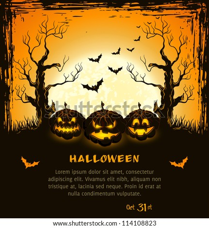 Orange grungy halloween background with scary pumpkins, full moon, trees and bats.  Vector Illustration.