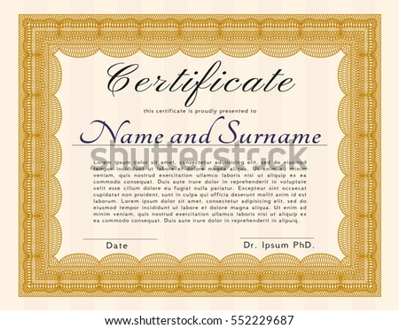 Orange Sample certificate or diploma. Elegant design. Customizable, Easy to edit and change colors. Printer friendly.