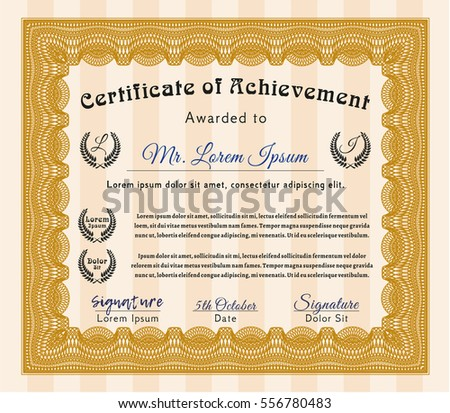 Orange Sample Certificate. With complex linear background. Customizable, Easy to edit and change colors. Beauty design.