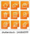 Orange stickers document icons set. Vector. - stock vector