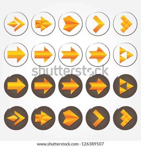 Orange volumetric vector arrows (collection). Different styles. Colorful arrow signs icon set.