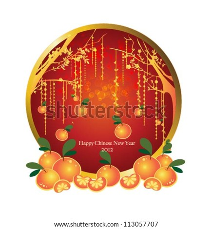 oranges mandarin hanging on the tree background for traditional of Chinese New Year Festival. Vector invitation card.