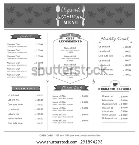 Restaurant Menu Design Template Layout Vintage Stock Vector