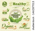 Organic Fresh vector Labels and  Elements set. Graphic Design Editable For Your Design. - stock vector