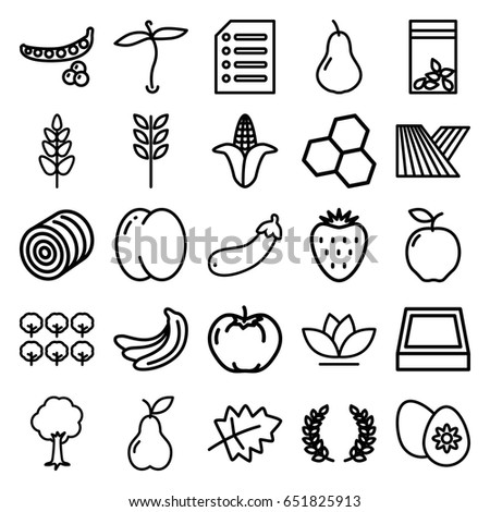 Plant Icons Set 25 Outline Such 645916780