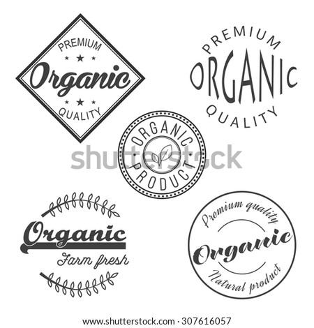 Organic premium quality retro badge label for your design. Set of vintage monochrome farm fresh stamps with leaf
