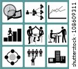 organization management and human resource management icon set - stock vector