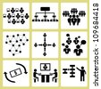 organization management, business management simple icon set, vector - stock vector