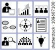 organization management, human resource icon set, vector - stock vector