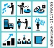 organization management icon set, blue - stock photo