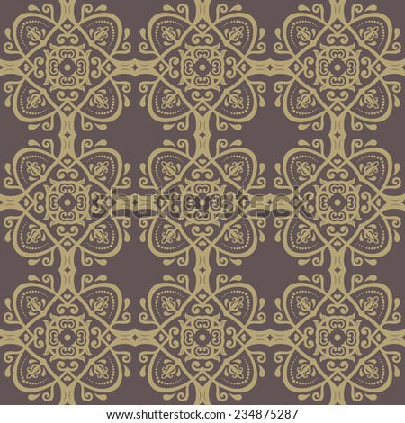 Oriental vector classic pattern with damask, arabesque and floral golden elements. Seamless abstract background