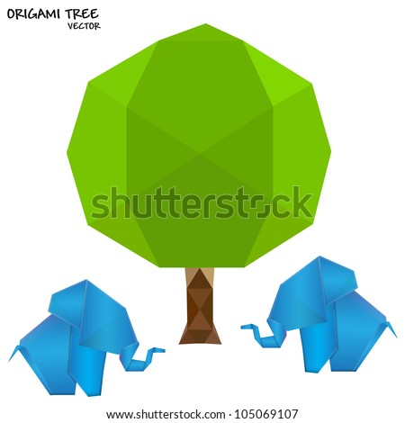 Origami background. Vector safari