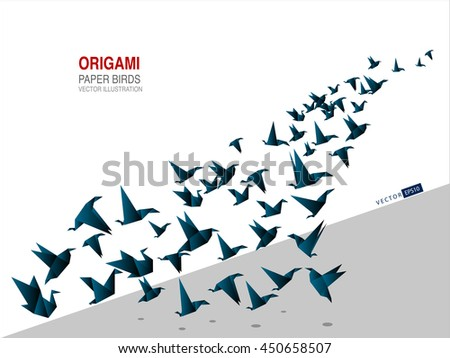 Origami paper bird vector illustration. Template for your presentation slide, background polygon style, good for website design.