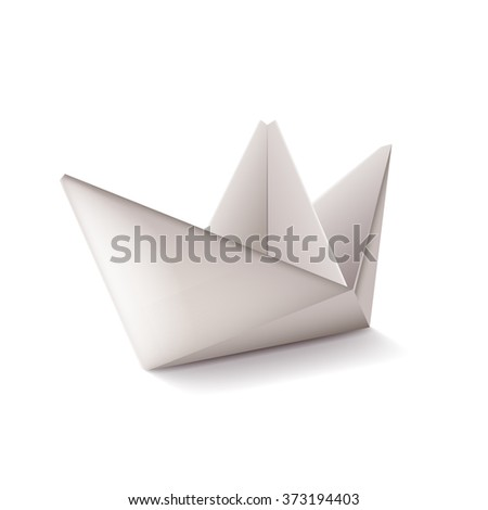 Origami ship isolated on white photo-realistic vector illustration