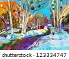 original digital painting of winter cityscape. Modern Impressionism, vector version - stock photo