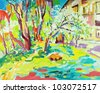 original oil painting of summer landscape. I am author of this illustration. Vector version - stock photo