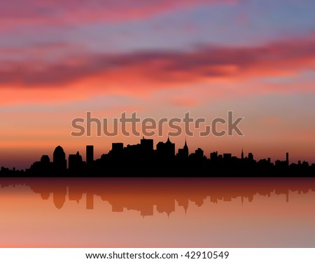Original Vector Illustration: New York city Skyline sunset internet background AI8 compatible