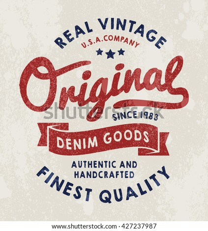 Hand drawn vintage label anchor lettering stock vector for T shirt printing and labeling