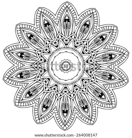 Ethnic Boho Doodle Floral Mandala Vector Stock Vector