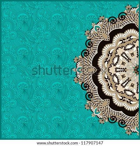 ornamental circle template with floral background