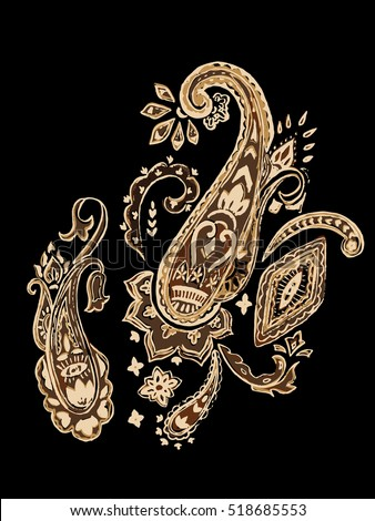 Ornamental paisley. Oriental pattern. Vector illustration
