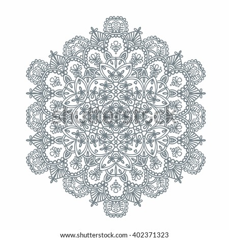 Contoured Asian Style Flowers Mandala Shape Stock Vector