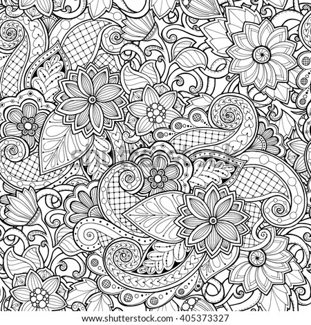 Ornamental Seamless Ethnic Black And White Pattern Floral Background Can Be Used For Wallpaper