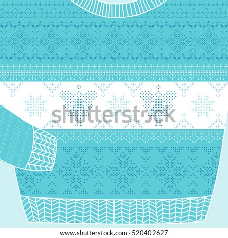Ornamental Sweater Card. Ugly Party Sweater. Vector