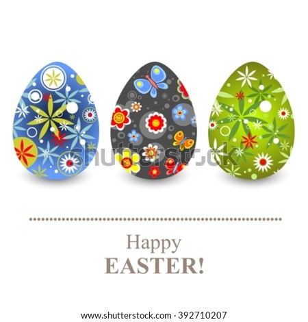Ornate Easter eggs set isolated on a white background.