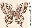 Ornate Hand-Drawn Butterfly Silhouette Tattoo Vector Illustration Design Element - stock vector