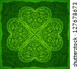 Ornate Saint Patrick's Day background with four-leaf clover - stock vector