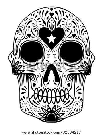 ornate sugar skull vector